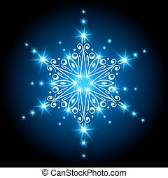 Magic Christmas Snowflake with glowing stars. Xmas background with sparkling lights