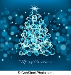 sparkly christmas tree on blue starry night sky
