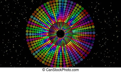 Magic circle composed from rainbow dots, vivid colors on black background with small yellow lights. discotheque element animation