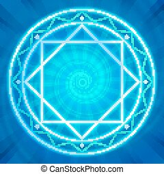 Magic circle, Sacred geometry, glowing neon lines
