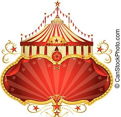 Magic circus red frame - A circus frame with a big top and a...