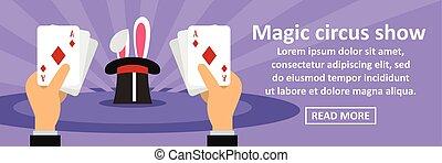 Magic circus show banner horizontal concept