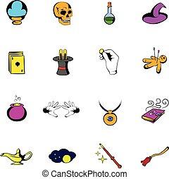 Magic comics icons set cartoon