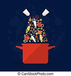 Cooking Pot - Magic Cooking Pot with vegetables. Flat Design...