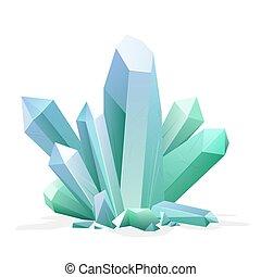 Magic crystal. Amethyst, topaz, blue quartz, ruby green gemstone. Game treasure element.