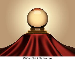 Magic crystal ball sitting on satin table cloth - 3d render