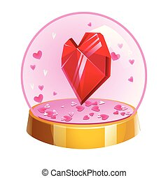 Magic crystal ball with hearts inside. Vector illustration for Valentines day.