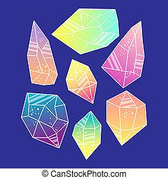 Magic crystals of pyramidal shape. Set Tribal precious...