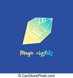 Magic crystals of pyramidal shape. Tribal precious stones...
