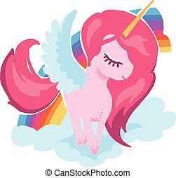 Magic cute little unicorn portrait with rainbow vector hand drawing illustration