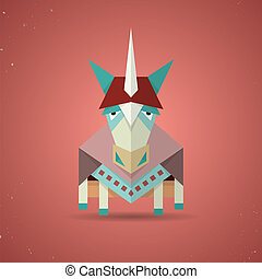 Magic cute origami unicorn from folded paper