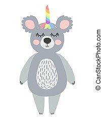Magic Cute Unicorn Koala Bear with Rainbow Horn. Kawaii Animal t-shirt Print, Baby Shower Card, Nursery Poster
