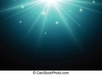 Magic dark background with blue star, lights.