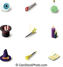 Magic equipment icons set, isometric style
