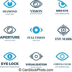 Magic eye logos. Mysterious sight symbols. Vision vector badges