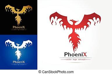 Phoenix - Magic Fairy Bird Abstract Logo design vector...
