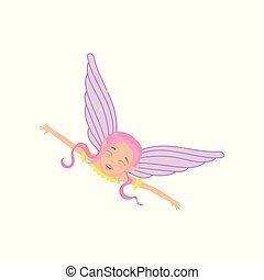 Magic fairy in flying action with arms wide open. Fictional fairytale creature with pink hair, cute elf ears and purple wings. Cartoon girl with happy face. Flat vector design