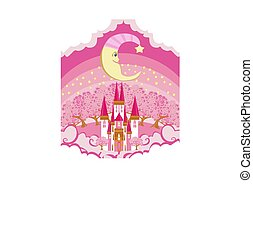 Magic Fairy Tale Castle and smiling moon