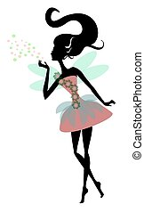 Magic Fairy with wings, vector illustration