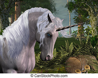 MAGIC FOREST - A beautiful stag unicorn passes through a...