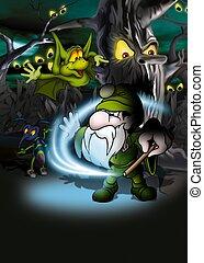 Magic Forest - Cartoon Background Illustration, Bitmap
