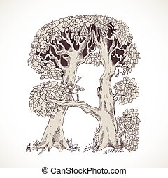 Magic forest hand drawn from trees by a vintage font - A