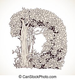 Magic forest hand drawn from trees by a vintage font - D