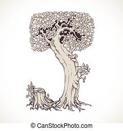 Magic forest hand drawn from trees by a vintage font - J