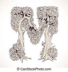 Magic forest hand drawn from trees by a vintage font - M