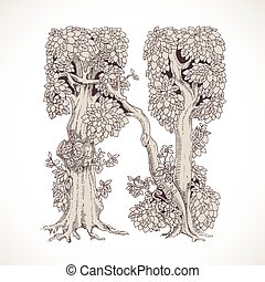 Magic forest hand drawn from trees by a vintage font - N