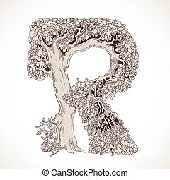Magic forest hand drawn from trees by a vintage font - R