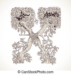 Magic forest hand drawn from trees by a vintage font - X