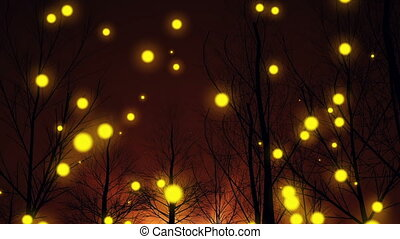 """Magic forest silhouette tree night and fantasy lights move up."""