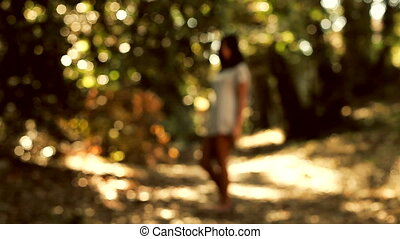 Magic forest with woman
