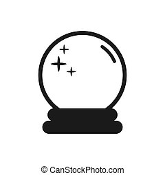 Magic fortune telling crystal ball line vector illustration. Vector logo cartoon icon isolated