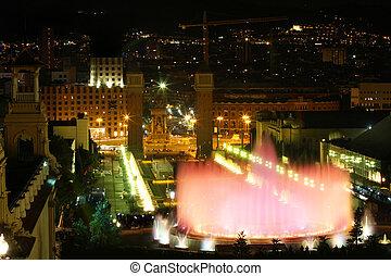 Barcelona, Spain - Magic fountain in city Barcelona, Spain