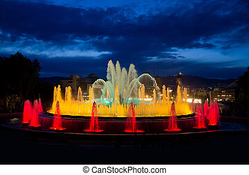 Magic Fountain on the Montjuic mountain during the evening ...