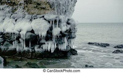 Magic frozen demolished forts ruins in Baltic sea, Liepaja,...