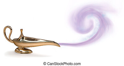magic genie lamp with purple smoke
