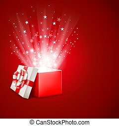 Open gift box with magic light fireworks vector clipart vector magic gift box negle Gallery