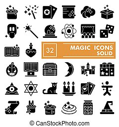 Magic glyph icon set, fantasy symbols collection, vector sketches, logo illustrations, wizard signs solid pictograms package isolated on white background, eps 10.