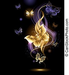 magic gold butterflies - artistically painted , gold jewelry...