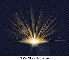 Magic golden glowing