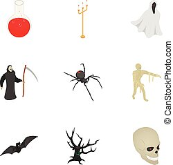 Magic halloween icon set, isometric style