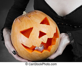 Magic Halloween pumpkin - Carved Halloween pumpkin in the...