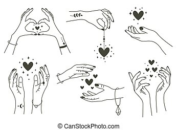 Magic hands with hearts. Boho linear style mystical hand, hand drawn arms with magic heart. Magical hands keep hearts vector symbols set