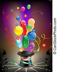 Magic hat and balloons - Colorful balloons fly out of the...