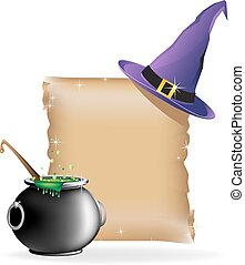 Magic hat and boiling cauldron - Witch hat, pot of boiling...