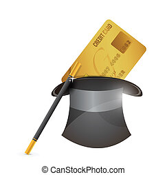 magic hat and credit card illustration design