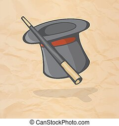 Magic hat and magic wand. The concept of a magic performance in the circus. Vector illustration.
